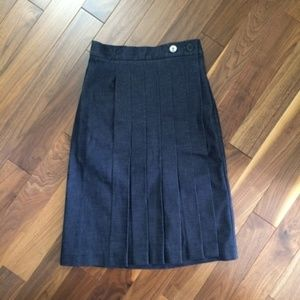 Victoria Beckham Jeans Pleated Denim Skirt